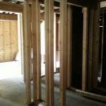 Fire restoration: New framed interior walls.