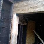 Fire restoration: New framing installed at the rear of the home.