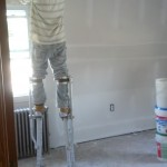 Spackle being applied to the sheetrock in Maplewood, NJ.