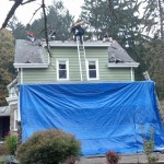 Demolition of the roofing shingles in Hawthorne, New Jersey.