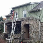 The roof has been completed. Now we are installing some new sections of seamless gutter in Hawthorne, NJ.