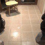 New ceramic tile installed on the basement floor.