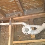 New plumbing after the subfloor was removed.