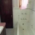 A view of the bathroom before renovations,