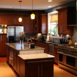 Custom kitchen island, cabinets and appliances.
