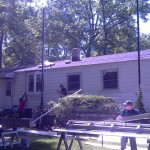 During installation of siding.