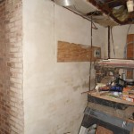 Repaired stucco along basement wall that had become loose in Spotswood, NJ.