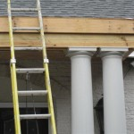 Detail of column and new front portico.