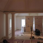 Custom millwork on ceiling and columns.