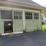 Existing condition of historic carriage house doors in Metuchen, NJ.