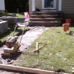 After removing the front walkway before installing pavers.