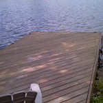 Before staining the dock in Hewitt, NJ.