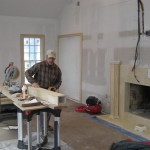 Custom mantle being fabricated on-site in the Great Room.