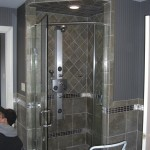 New shower installed in the master bathroom.