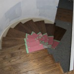 A curved staircase was built in the home. Railings are yet to be installed.