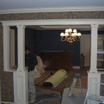 The dining room after installing new custom wood columns and trim.
