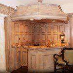 Custom millwork paneling and custom wood bar.