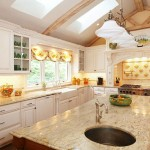 Finished kitchen with custom cabinets, granite countertops, and backsplash.