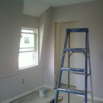 New sheetrock installed, primed, and painted in Maplewood, NJ.