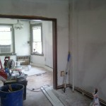 New sheetrock installed, primed, and painted on the first floor in Maplewood, NJ.