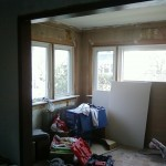 Gutted room on the first floor awaiting new sheetrock to be installed in Maplewood, NJ.