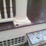 Damaged historic porch column.