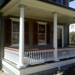 New custom porch spindles installed to match the historic ones.
