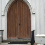 The original church doors in Spotswood, NJ before restoration.