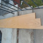 A view of the new custom oak wood door saddle that is to be installed at St. Peter's Episcopal Church in Spotswood, NJ.