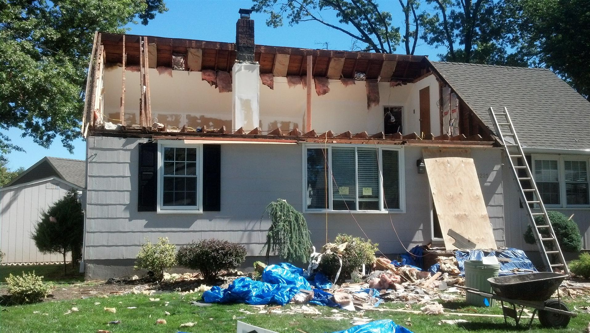 The Old Roof And Framing Has Been Removed In Rahway, NJ.
