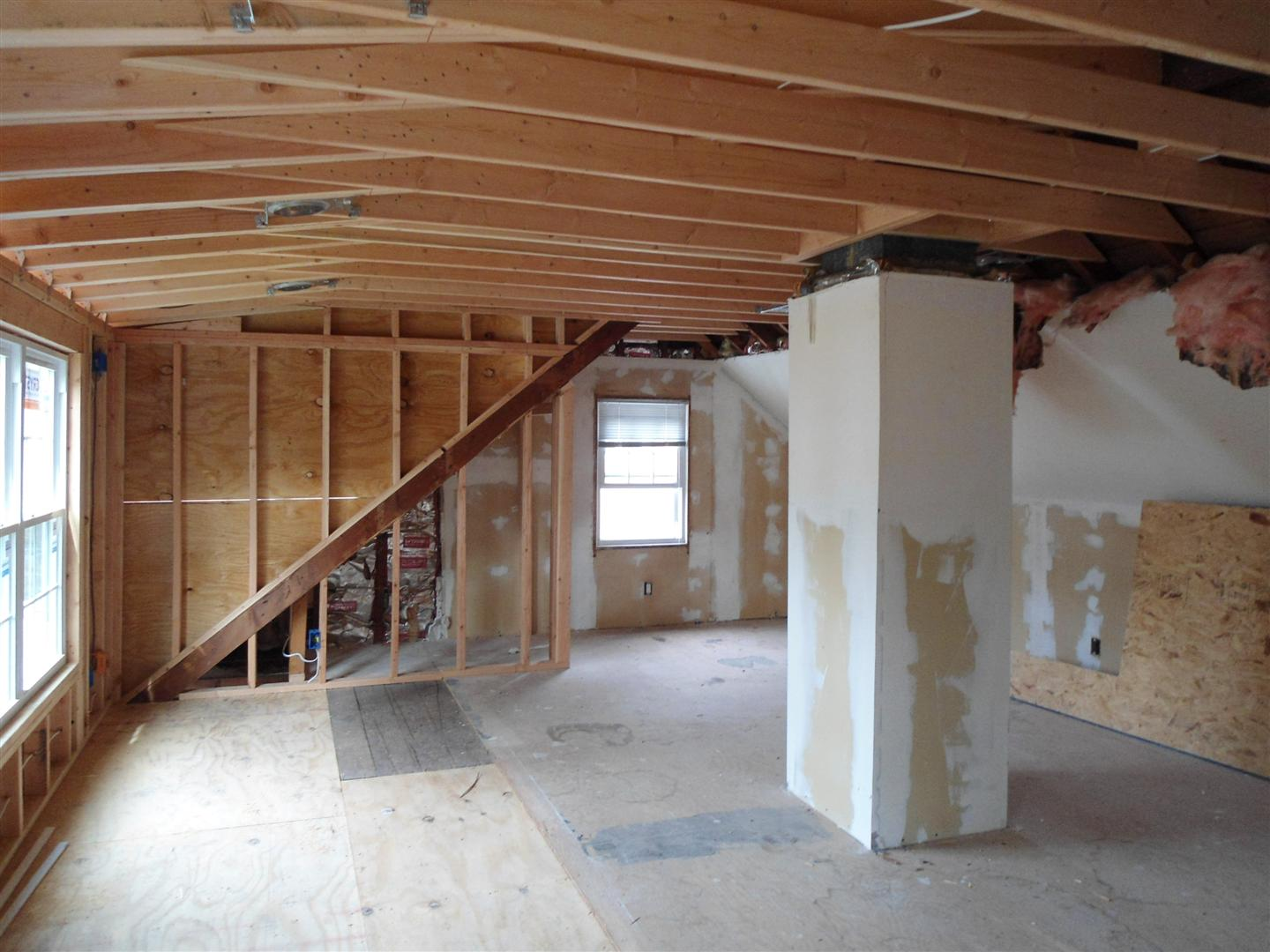 a view of the interior framing in the dormer addition in rahway nj