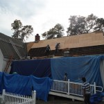 Installing new plywood sheathing over the area of the cedar shakes in Spotswood, NJ.