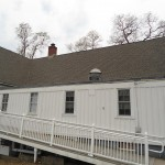A view of the new GAF shingle roof and flat roof over the Parish Hall kitchen in Spotswood, NJ.