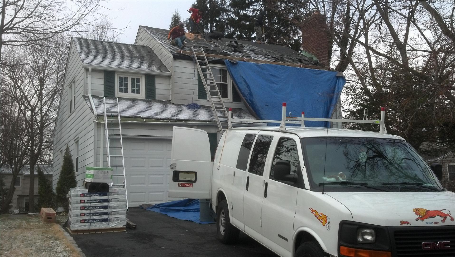 New Asphalt GAF Roof Shingles Installed On The Main Roof In Springfield, NJ.