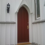 After the restored side door was reinstalled at St. Peter's Episcopal Church, Spotswood, NJ,