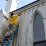 Installing replacement Gothic Revival details on St. Peter's Episcopal Church in Spotswood, NJ.