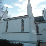 Accent areas painted gray along the side of St. Peter's Episcopal Church, Spotswood, NJ.