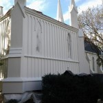 A newly painted section of St. Peter's Church for painting in Spotswood, NJ.