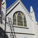 Prepping the rear of St. Peter's Church for painting in Spotswood, NJ.