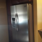 A view of the new refrigerator and pantry cabinets in Hasbrouck Heights, NJ.