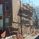 Bricks are piled up waiting to be reinstalled in Montclair, NJ.