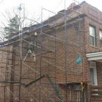 Repairs have been made to the brick in the front section of the home in Montclair, NJ.