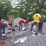 Installing new GAF shingles on the roof in Berkeley Heights, NJ.