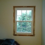 Interior view of a replacement window installed. Awaiting the trim to be put back around it.