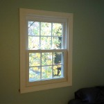 Trim reinstalled around the new vinyl replacement window in Westfield, NJ.