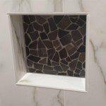 Shower niche installed in this Millburn, NJ bathroom remodel.