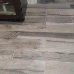 Close-up of the tile floor installed in this Millburn, NJ bathroom renovation.