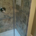 The new glass shower doors and niche in Montclair, NJ.