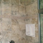 Another view of the tile and niche installed in this Montclair, NJ bathroom.