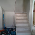 The new stairs leading to the attic bedrooms and bathroom from the main level of the home in Short Hills, NJ.